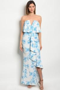 113-1-1-D10333 OFF WHITE BLUE FLORAL DRESS 2-2-2