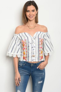 136-2-5-T056982 OFF WHITE NAVY STRIPES WITH FLOWERS PRINT TOP 2-2-2