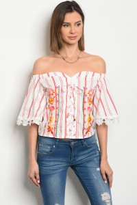 117-2-1-T056982 OFF WHITE RED STRIPES WITH FLOWERS PRINT TOP 3-2-2