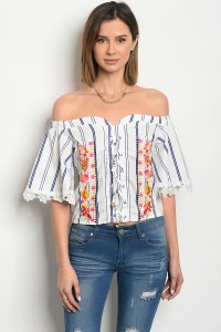125-1-1-T056982 OFF WHITE BLUE STRIPES WITH FLOWERS PRINT TOP 2-2-2