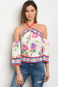 S8-13-2-T06913 WHITE RED FLORAL TOP 2-2-2