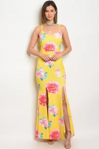 117-2-2-D10350 YELLOW FLORAL DRESS 1-1