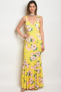 117-2-2-D06300 YELLOW PINK FLORAL DRESS 1-2-2