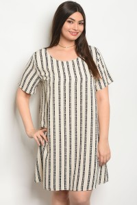 C28-A-1-D64865X BEIGE BLACK STRIPES PLUS SIZE DRESS 1-3