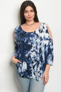 C28-B-1-T64365X NAVY TIE DYE PLUS SIZE TOP 2-2-1
