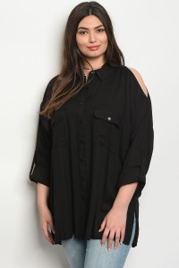 S12-2-2-T64430X BLACK PLUS SIZE TOP 2-2-1