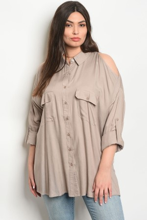 S13-10-1-T64430X TAUPE PLUS SIZE TOP 2-2-1