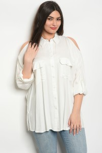 127-1-2-T64430X IVORY PLUS SIZE TOP 1-2