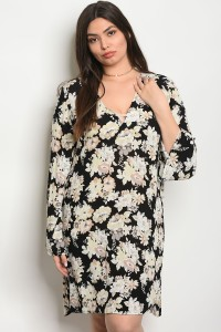 C18-A-1-D63908X BLACK FLORAL PLUS SIZE DRESS 3-1-1