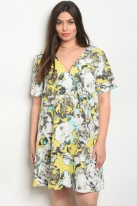 C23-A-5-D64716X OFF WHITE YELLOW PLUS SIZE DRESS 2-2-2