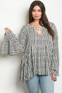 C23-A-2-T64990X IVORY BLACK STRIPE PLUS SIZE TOP 2-2-2
