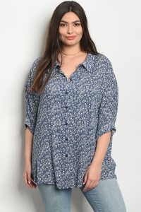 C18-A-1-T65106X BLUE FLORAL PLUS SIZE TOP 3-3-2
