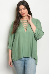 S13-10-1-T65012X SAGE PLUS SIZE TOP 2-2-1