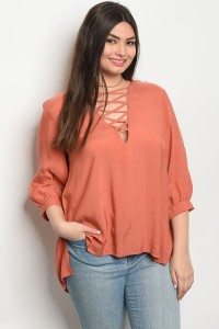 S13-12-3-T65012X RUST PLUS SIZE TOP 2-2-1