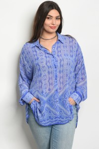 C17-A-2-T65073X BLUE WHITE PLUS SIZE TOP 2-2-2