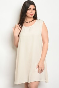 C10-A-1-D65142X BEIGE PLUS SIZE DRESS 1-1-2