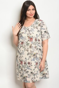 C14-A-1-D64842X CREAM FLORAL PLUS SIZE DRESS 2-2-2