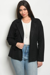 C10-A-1-B51083X BLACK PLUS SIZE BLAZER 1-1-1