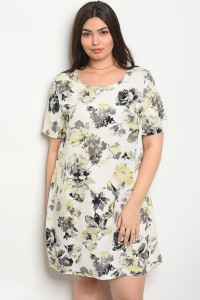 C5-A-5-D64735X IVORY FLORAL PLUS SIZE DRESS 2-2-2