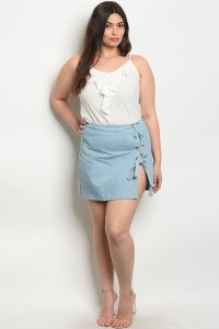 132-3-4-S020X2 DENIM PLUS SIZE SKIRT 2-2-1