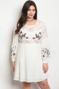 S15-1-4-D20340X OFF WHITE WITH FLOWER PRINT PLUS SIZE DRESS 2-2-2