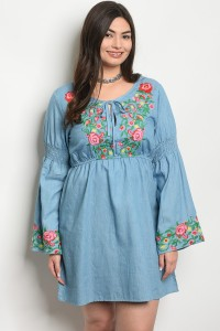 S11-3-3-D20334X DENIM WITH FLOWER PRINT PLUS SIZE DRESS 2-2-2