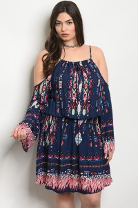 118-3-4-D20343X NAVY MULTI PLUS SIZE DRESS 2-2-2