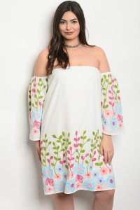 118-2-4-D20336X OFF WHITE WITH FLOWER PRINT PLUS SIZE DRESS 2-2-2