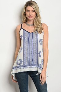 C28-A-2-T2735 IVORY BLUE TOP 2-2-2