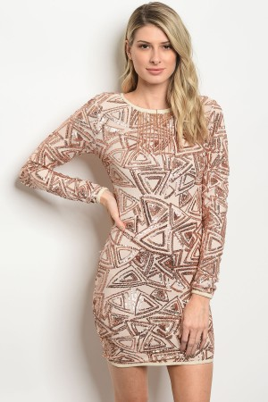 132-3-1-D0201 ROSE GOLD WITH SEQUINS DRESS 3-2-1
