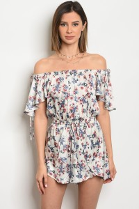 121-3-3-R205791 OFF WHITE FLORAL ROMPER 3-2-2