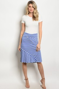 C70-B-3-S5247 ROYAL WHITE STRIPES SKIRT 2-2-2