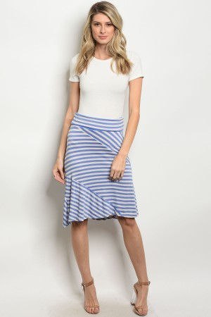 C68-B-3-S5247 BLUE IVORY STRIPES SKIRT 2-2-2
