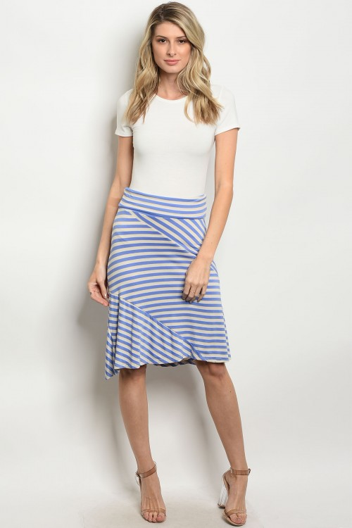 C68-B-5-S5247 BLUE IVORY STRIPES SKIRT 2-2-2