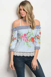 120-3-2-T052036 OFF WHITE BLUE STRIPES TOP 2-2-2
