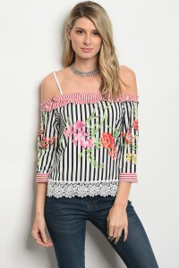 120-3-2-T052036 OFF WHITE BLACK STRIPES TOP 2-2-2