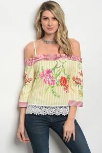 132-1-5-T052036 OFF WHITE YELLOW STRIPES TOP 2-2-3