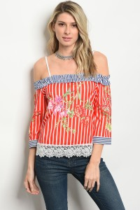 120-3-2-T052036 OFF WHITE RED STRIPES TOP 2-2-2