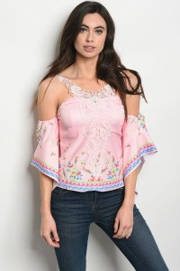 S2-10-4-T20132 PINK FLORAL TOP 2-2-2
