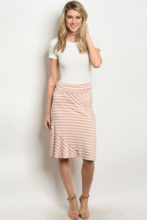 C81-B-1-S5247 PEACH IVORY STRIPES SKIRT 1-2-2