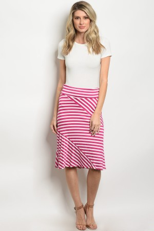 C82-B-4-S5247 FUCHSIA WHITE STRIPES SKIRT 2-2-2