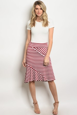 C84-B-2-S5247 BURGUNDY WHITE STRIPES SKIRT 2-2-2