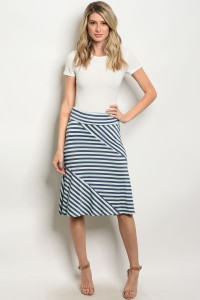 C83-B-1-S5247 NAVY MINT STRIPES SKIRT 2-4