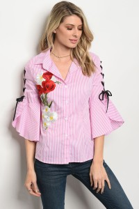 110-3-3-T03032 PINK WHITE STRIPES TOP 2-2-2