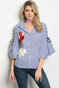 110-3-3-T03032 BLUE WHITE STRIPES TOP 2-2-2