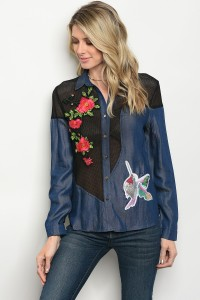 S2-9-3-T02789 NAVY BLACK WITH FLOWER PRINT DENIM TOP 2-2-2