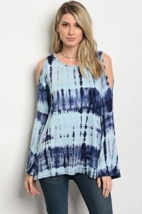 C91-A-1-T2002 BLUE NAVY TIE DYE TOP 2-3-2