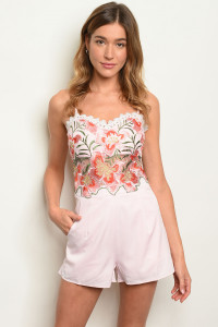 S4-2-4-R07251 PINK WITH FLOWER PRINT ROMPER 2-2-2