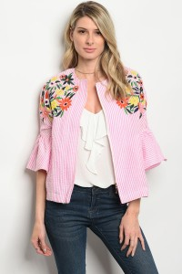 115-3-3-T08334 PINK WHITE STRIPES TOP 3-1-1