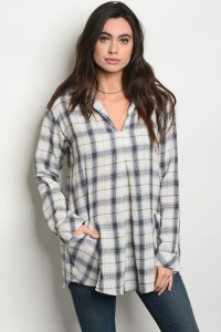 S11-18-3-T4232 BLUE CHECKERED TOP 2-2-2